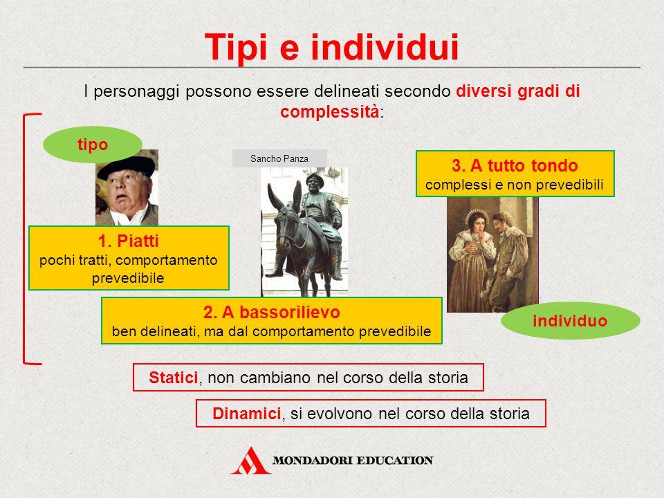 Tipi e individui I personaggi possono essere delineati secondo diversi gradi di complessità: 1. Piatti pochi tratti, comportamento prevedibile tipo 2.