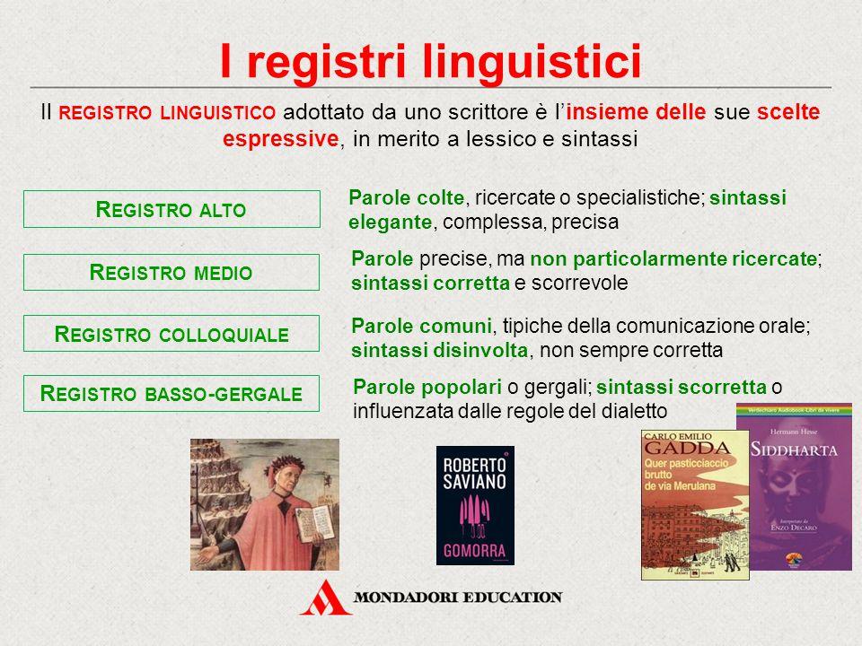 I registri linguistici Il REGISTRO LINGUISTICO adottato da uno scrittore è l'insieme delle sue scelte espressive, in merito a lessico e sintassi R EGI