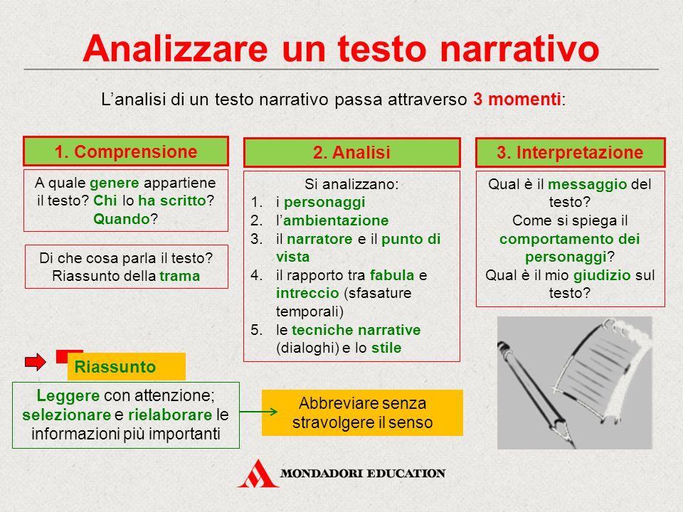Analizzare un testo narrativo L'analisi di un testo narrativo passa attraverso 3 momenti: 1. Comprensione A quale genere appartiene il testo? Chi lo h