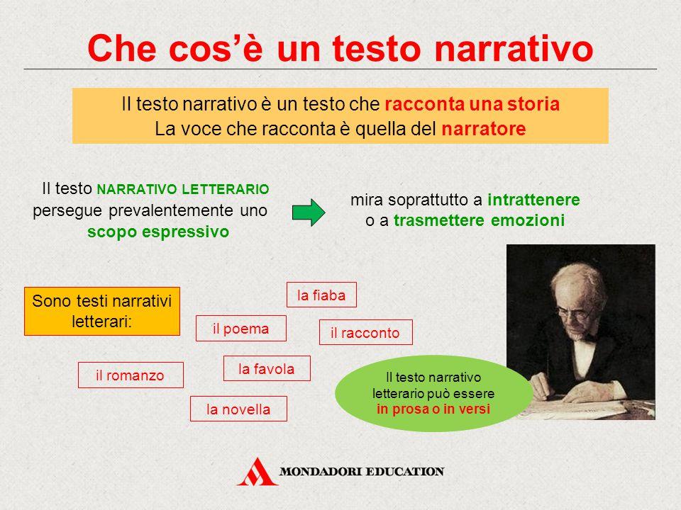 Che cos'è un testo narrativo Il testo narrativo è un testo che racconta una storia La voce che racconta è quella del narratore la fiaba la favola il p
