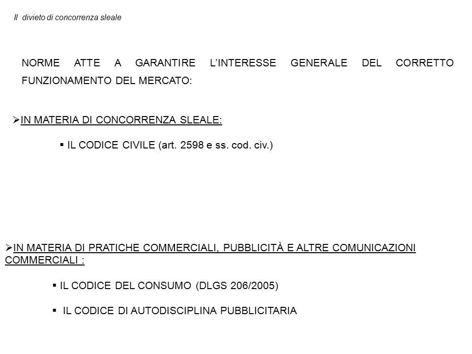 Il divieto di concorrenza sleale NORME ATTE A GARANTIRE L'INTERESSE GENERALE DEL CORRETTO FUNZIONAMENTO DEL MERCATO:  IN MATERIA DI PRATICHE COMMERCIALI, PUBBLICITÀ E ALTRE COMUNICAZIONI COMMERCIALI :  IL CODICE DEL CONSUMO (DLGS 206/2005)  IL CODICE DI AUTODISCIPLINA PUBBLICITARIA  IN MATERIA DI CONCORRENZA SLEALE:  IL CODICE CIVILE (art.