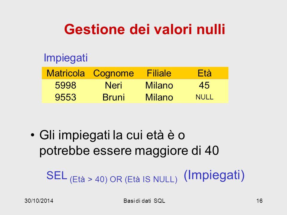 30/10/2014Basi di dati SQL16 CognomeFilialeEtàMatricola NeriMilano455998 BruniMilano NULL 9553 Impiegati SEL (Età > 40) OR (Età IS NULL) (Impiegati) RossiRoma327309 RossiRoma327309 NeriMilano455998 BruniMilano NULL 9553 Gestione dei valori nulli Gli impiegati la cui età è o potrebbe essere maggiore di 40