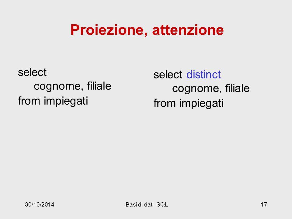 30/10/2014Basi di dati SQL17 select cognome, filiale from impiegati select distinct cognome, filiale from impiegati Proiezione, attenzione