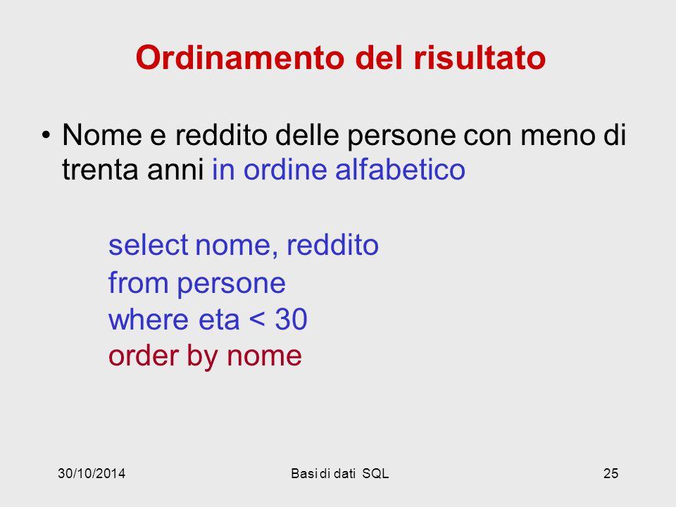 30/10/2014Basi di dati SQL25 Ordinamento del risultato Nome e reddito delle persone con meno di trenta anni in ordine alfabetico select nome, reddito from persone where eta < 30 order by nome