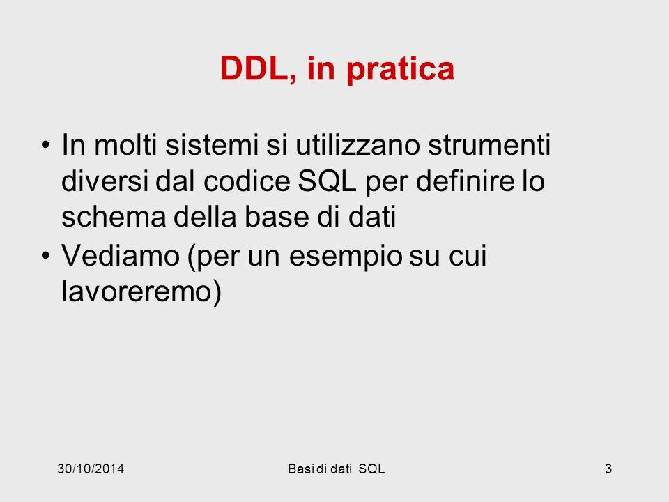 30/10/2014Basi di dati SQL3 DDL, in pratica In molti sistemi si utilizzano strumenti diversi dal codice SQL per definire lo schema della base di dati Vediamo (per un esempio su cui lavoreremo)