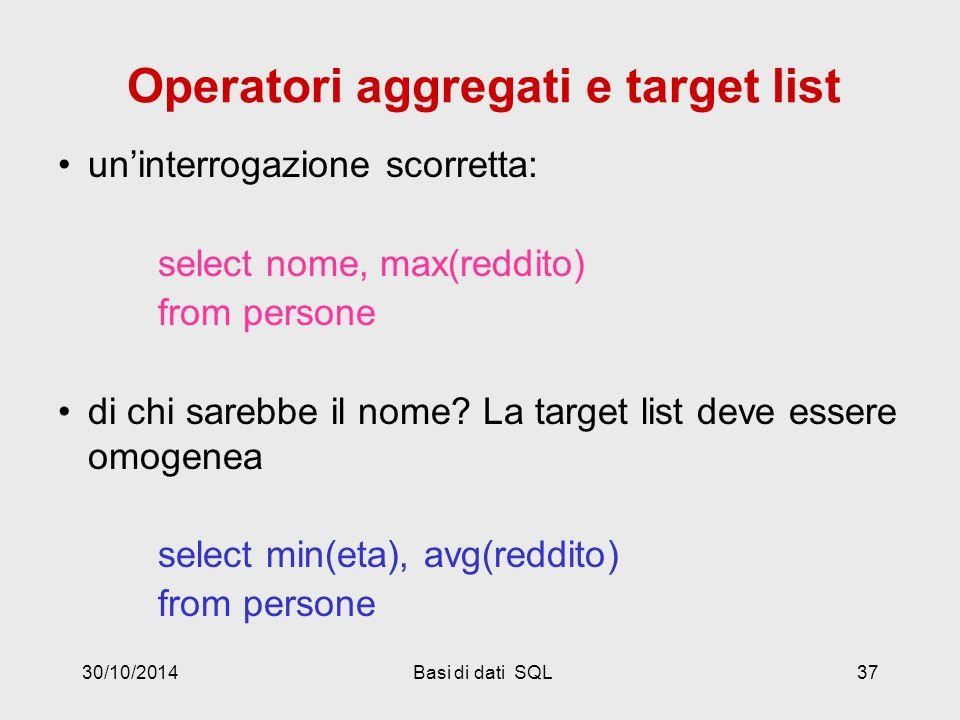30/10/2014Basi di dati SQL37 Operatori aggregati e target list un'interrogazione scorretta: select nome, max(reddito) from persone di chi sarebbe il nome.