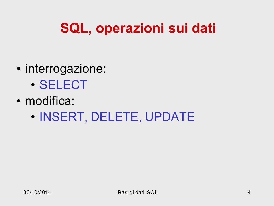 30/10/2014Basi di dati SQL4 SQL, operazioni sui dati interrogazione: SELECT modifica: INSERT, DELETE, UPDATE