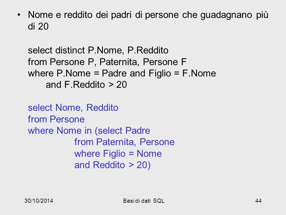 30/10/2014Basi di dati SQL44 Nome e reddito dei padri di persone che guadagnano più di 20 select distinct P.Nome, P.Reddito from Persone P, Paternita, Persone F where P.Nome = Padre and Figlio = F.Nome and F.Reddito > 20 select Nome, Reddito from Persone where Nome in (select Padre from Paternita, Persone where Figlio = Nome and Reddito > 20)