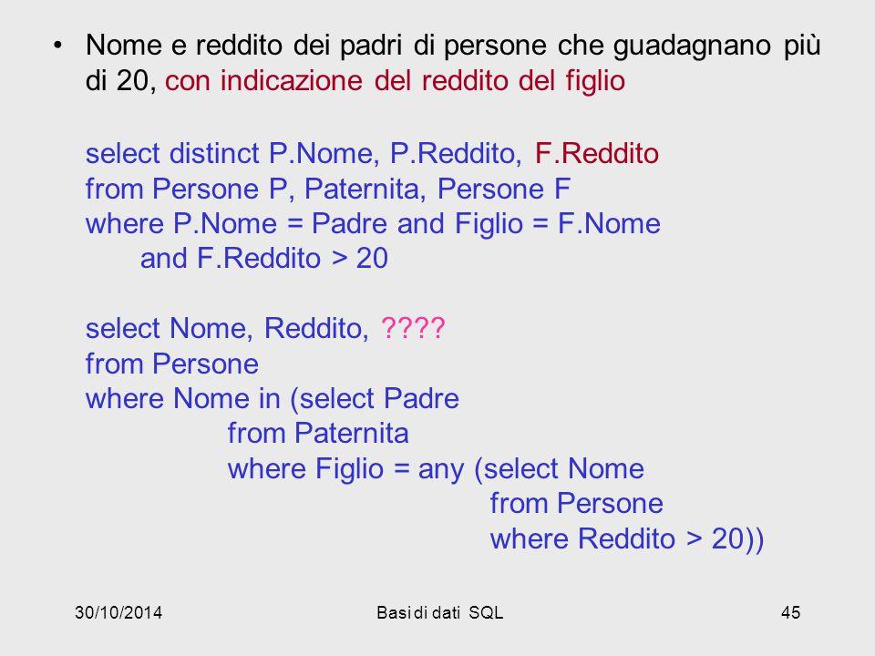 30/10/2014Basi di dati SQL45 Nome e reddito dei padri di persone che guadagnano più di 20, con indicazione del reddito del figlio select distinct P.Nome, P.Reddito, F.Reddito from Persone P, Paternita, Persone F where P.Nome = Padre and Figlio = F.Nome and F.Reddito > 20 select Nome, Reddito, ???.