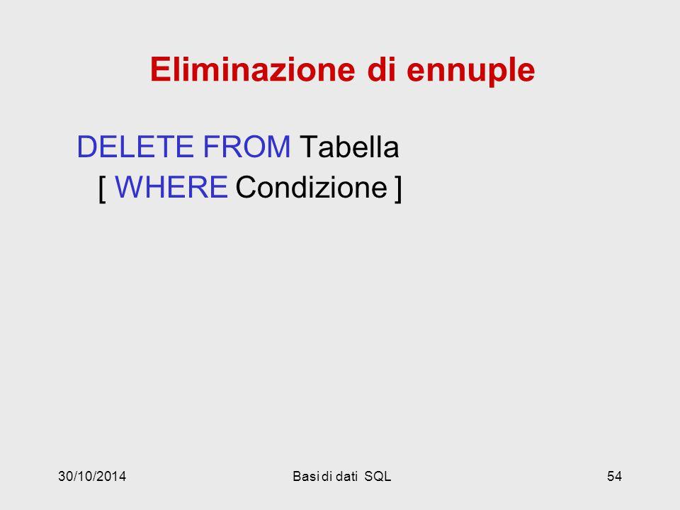 30/10/2014Basi di dati SQL54 Eliminazione di ennuple DELETE FROM Tabella [ WHERE Condizione ]