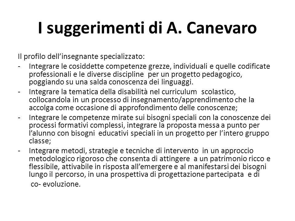 I suggerimenti di A. Canevaro Il profilo dell'insegnante specializzato: -Integrare le cosiddette competenze grezze, individuali e quelle codificate pr