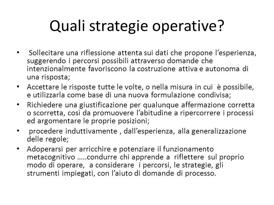 Quali strategie operative? Sollecitare una riflessione attenta sui dati che propone l'esperienza, suggerendo i percorsi possibili attraverso domande c