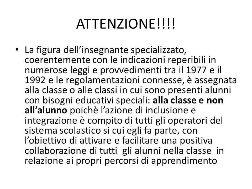 ATTENZIONE!!!! La figura dell'insegnante specializzato, coerentemente con le indicazioni reperibili in numerose leggi e provvedimenti tra il 1977 e il