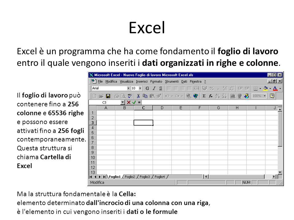 Excel Excel è un programma che ha come fondamento il foglio di lavoro entro il quale vengono inseriti i dati organizzati in righe e colonne.