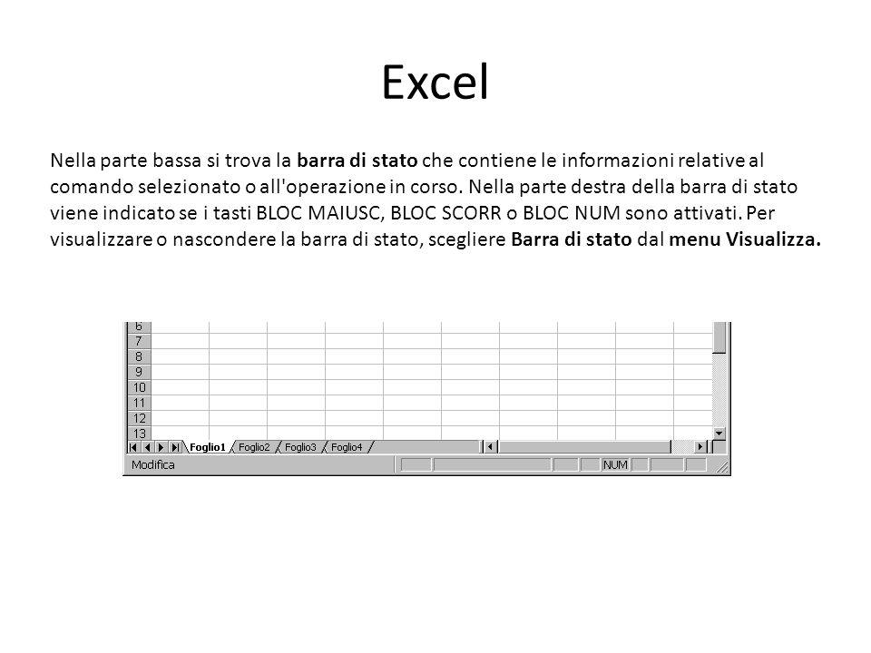 Excel Nella parte bassa si trova la barra di stato che contiene le informazioni relative al comando selezionato o all operazione in corso.