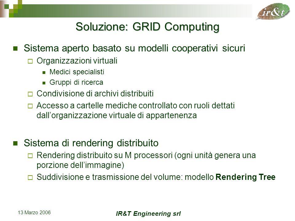 IR&T Engineering srl 13 Marzo 2006 Modello Rendering Tree Il Rendering Tree è costituito da 2 tipologie di nodi: I compositori (nodi interni) I renderizzatori (foglie) Parametri: branching factor (b), tree depth (n) Aggiustabili in base alle risorse disponibili (processori e larghezza di banda)