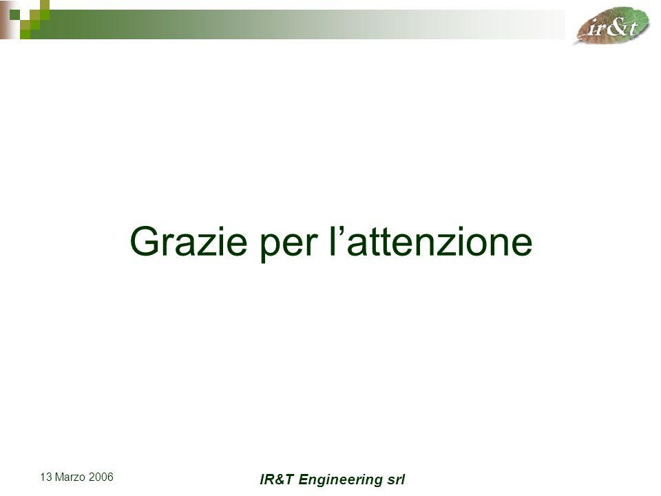 IR&T Engineering srl 13 Marzo 2006 Grazie per l'attenzione