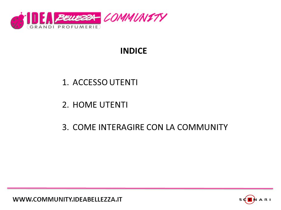 INDICE 1.ACCESSO UTENTI 2.HOME UTENTI 3.COME INTERAGIRE CON LA COMMUNITY WWW.COMMUNITY.IDEABELLEZZA.IT