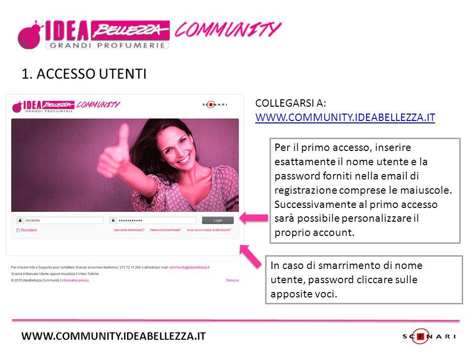 2.HOME UTENTI Cliccando sui box laterali si accederà alle pagine Eventi e Discussioni.