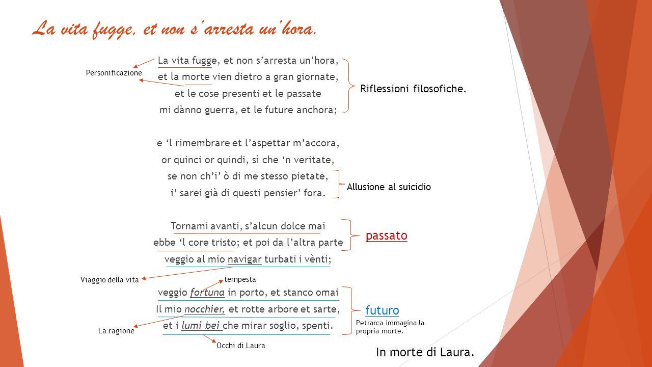 Commento.Questo sonetto espone l'ennesima analisi interiore del Petrarca.