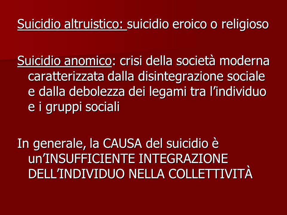 Suicidio altruistico: suicidio eroico o religioso Suicidio anomico: crisi della società moderna caratterizzata dalla disintegrazione sociale e dalla d