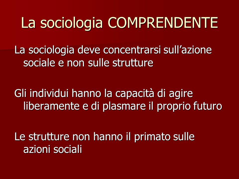 La sociologia COMPRENDENTE La sociologia deve concentrarsi sull'azione sociale e non sulle strutture Gli individui hanno la capacità di agire liberame