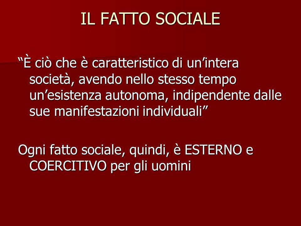 """IL FATTO SOCIALE """"È ciò che è caratteristico di un'intera società, avendo nello stesso tempo un'esistenza autonoma, indipendente dalle sue manifestazi"""
