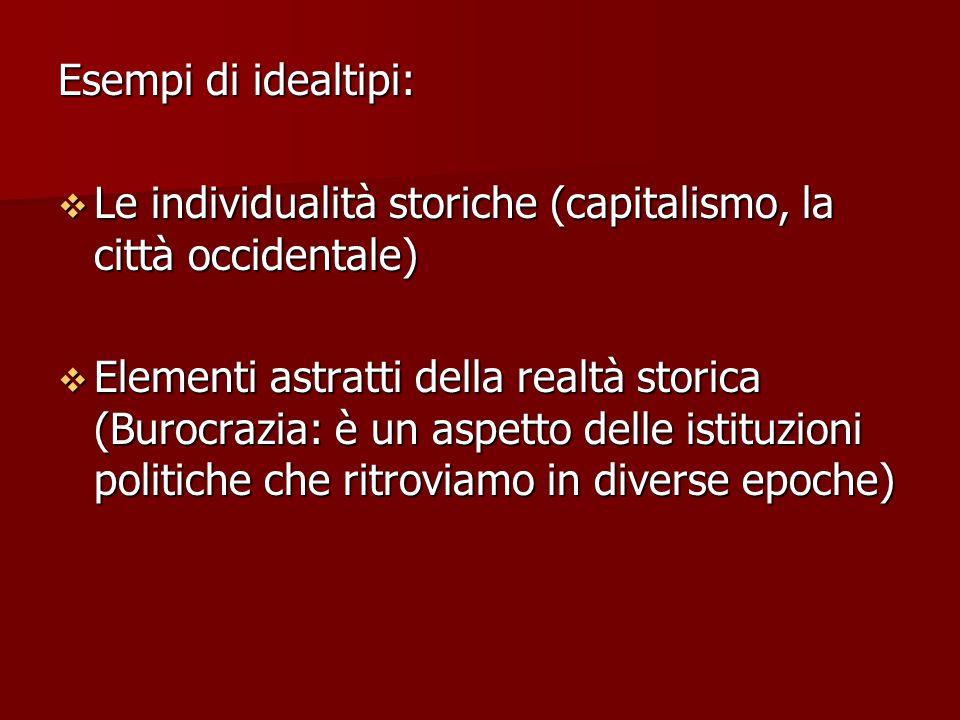 Esempi di idealtipi:  Le individualità storiche (capitalismo, la città occidentale)  Elementi astratti della realtà storica (Burocrazia: è un aspett