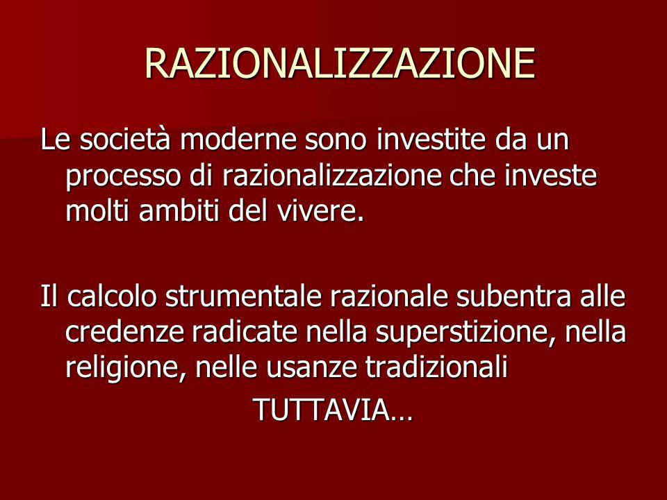 RAZIONALIZZAZIONE RAZIONALIZZAZIONE Le società moderne sono investite da un processo di razionalizzazione che investe molti ambiti del vivere. Il calc