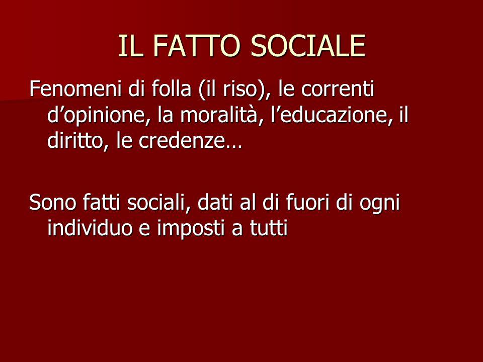 IL FATTO SOCIALE Fenomeni di folla (il riso), le correnti d'opinione, la moralità, l'educazione, il diritto, le credenze… Sono fatti sociali, dati al