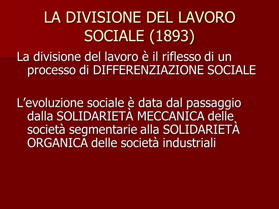 LA DIVISIONE DEL LAVORO SOCIALE (1893) La divisione del lavoro è il riflesso di un processo di DIFFERENZIAZIONE SOCIALE L'evoluzione sociale è data da