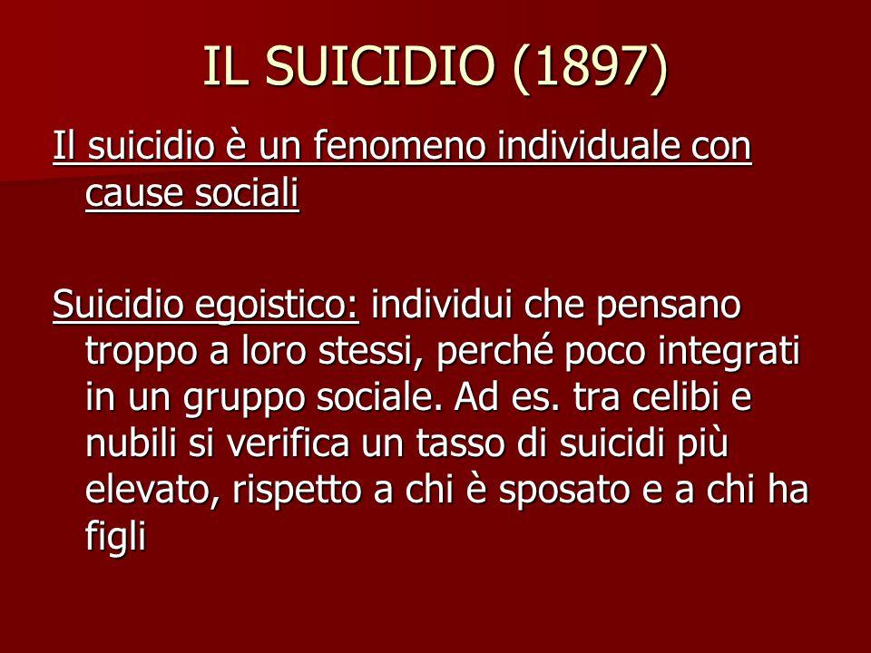 IL SUICIDIO (1897) Il suicidio è un fenomeno individuale con cause sociali Suicidio egoistico: individui che pensano troppo a loro stessi, perché poco