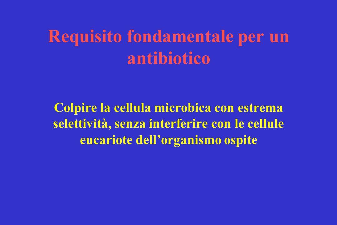 Requisito fondamentale per un antibiotico Colpire la cellula microbica con estrema selettività, senza interferire con le cellule eucariote dell'organismo ospite