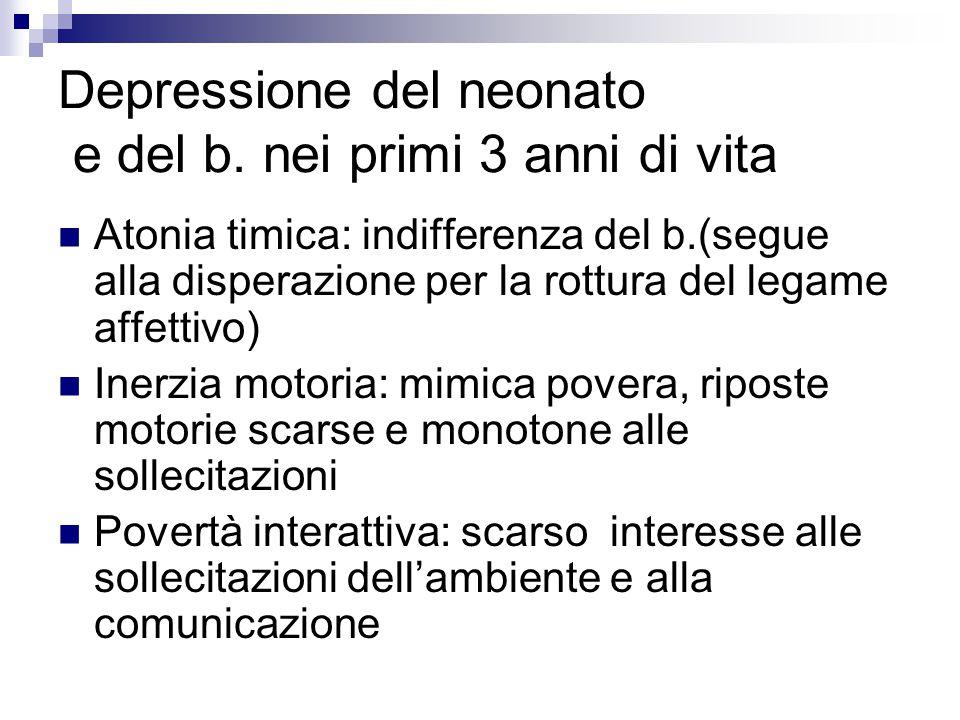Depressione del neonato e del b. nei primi 3 anni di vita Atonia timica: indifferenza del b.(segue alla disperazione per la rottura del legame affetti