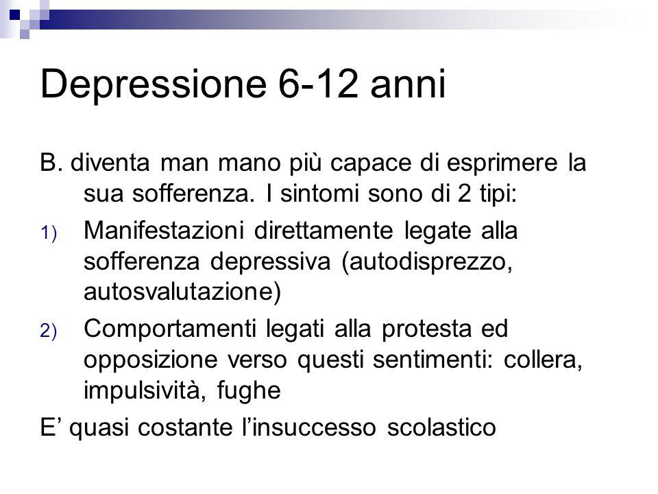 Depressione 6-12 anni B. diventa man mano più capace di esprimere la sua sofferenza. I sintomi sono di 2 tipi: 1) Manifestazioni direttamente legate a