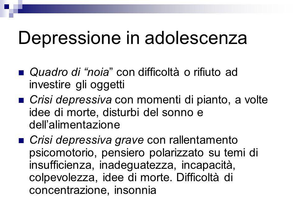 """Depressione in adolescenza Quadro di """"noia"""" con difficoltà o rifiuto ad investire gli oggetti Crisi depressiva con momenti di pianto, a volte idee di"""