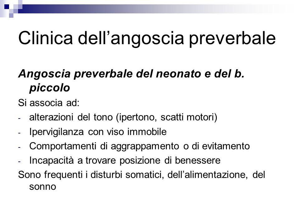 Clinica dell'angoscia preverbale Angoscia preverbale del neonato e del b. piccolo Si associa ad: - alterazioni del tono (ipertono, scatti motori) - Ip