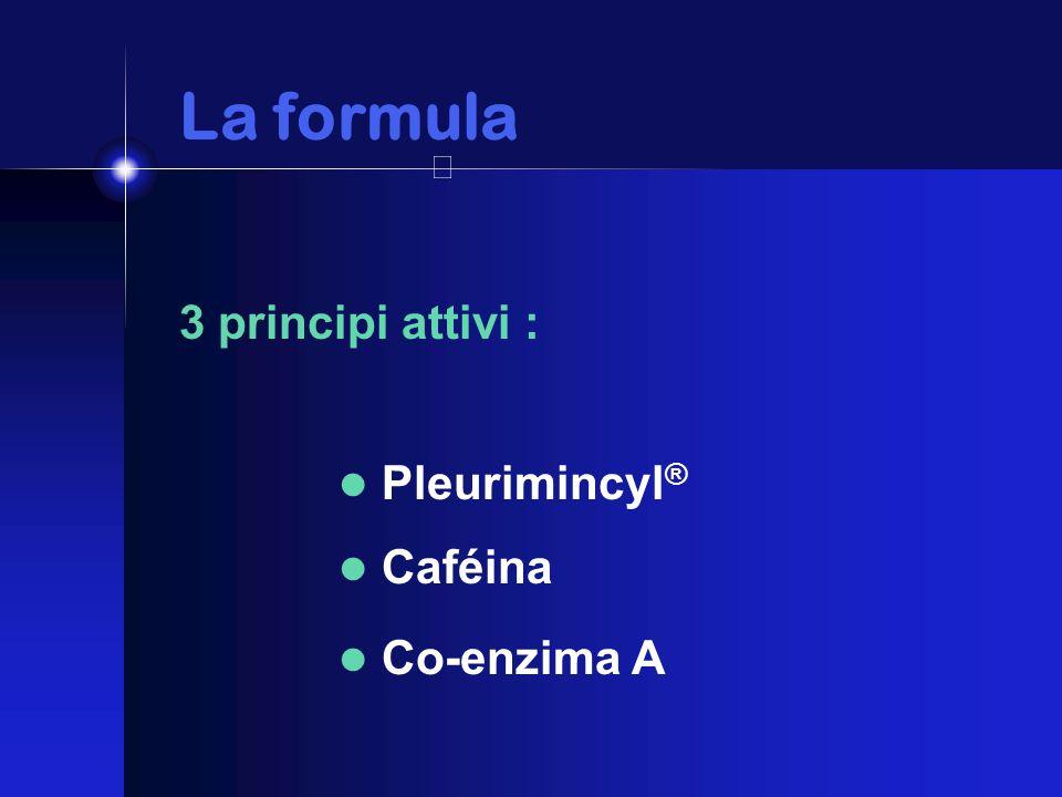 La formula La formula 3 principi attivi : Pleurimincyl ® Caféina Co-enzima A