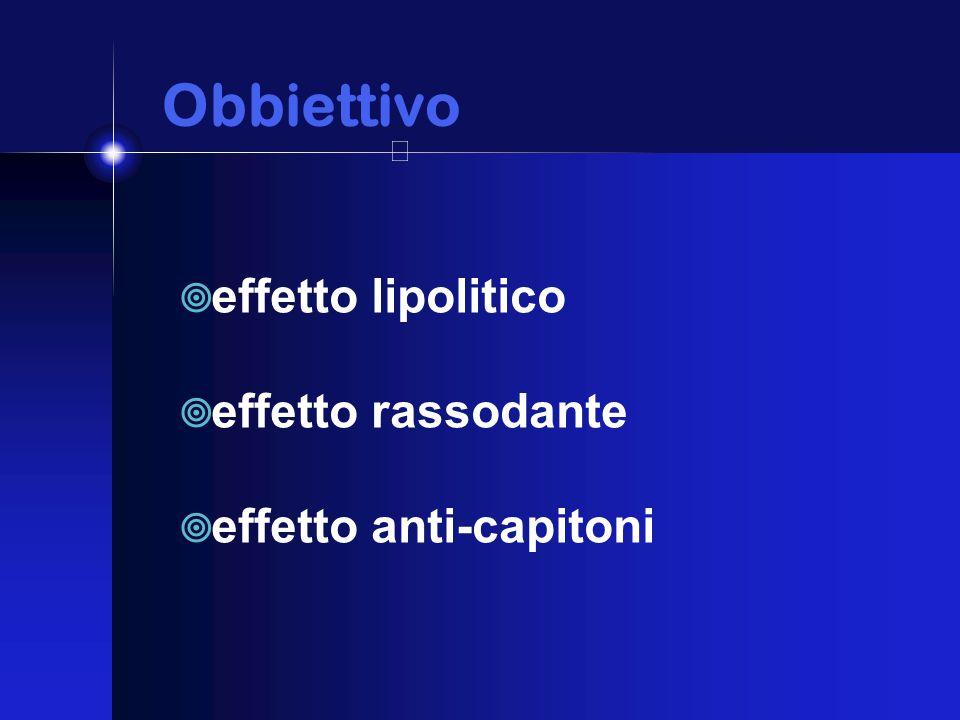 Obbiettivo Obbiettivo  effetto lipolitico  effetto rassodante  effetto anti-capitoni