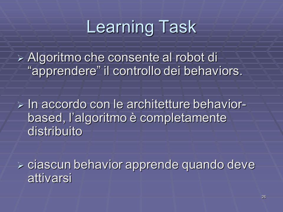 26 Learning Task  Algoritmo che consente al robot di apprendere il controllo dei behaviors.