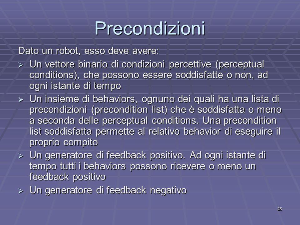 28 Precondizioni Dato un robot, esso deve avere:  Un vettore binario di condizioni percettive (perceptual conditions), che possono essere soddisfatte o non, ad ogni istante di tempo  Un insieme di behaviors, ognuno dei quali ha una lista di precondizioni (precondition list) che è soddisfatta o meno a seconda delle perceptual conditions.
