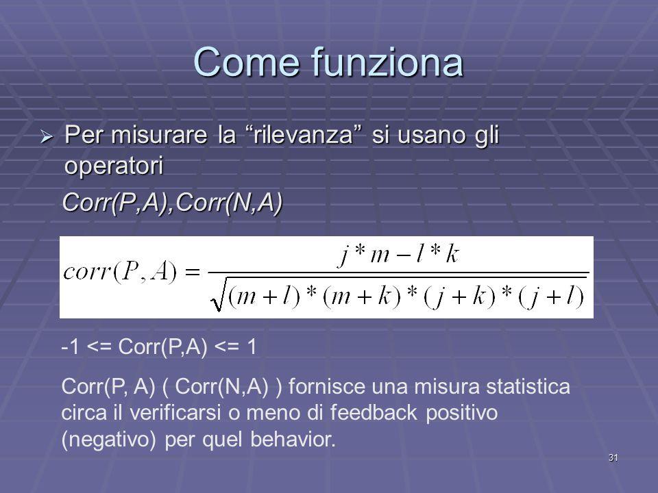 31 Come funziona  Per misurare la rilevanza si usano gli operatori Corr(P,A),Corr(N,A) Corr(P,A),Corr(N,A) -1 <= Corr(P,A) <= 1 Corr(P, A) ( Corr(N,A) ) fornisce una misura statistica circa il verificarsi o meno di feedback positivo (negativo) per quel behavior.