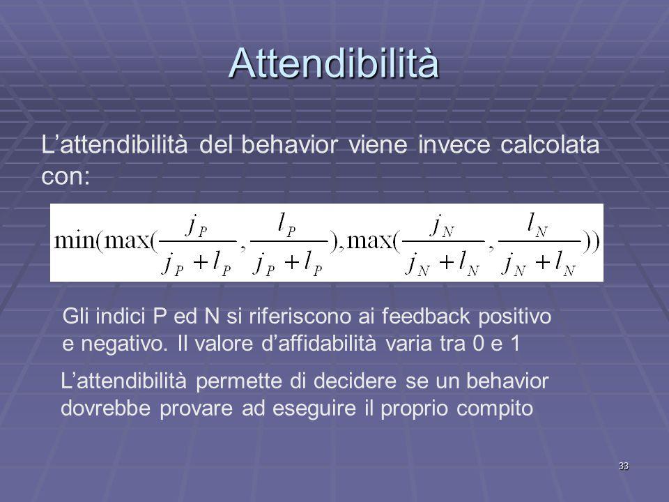 33 Attendibilità L'attendibilità del behavior viene invece calcolata con: Gli indici P ed N si riferiscono ai feedback positivo e negativo.