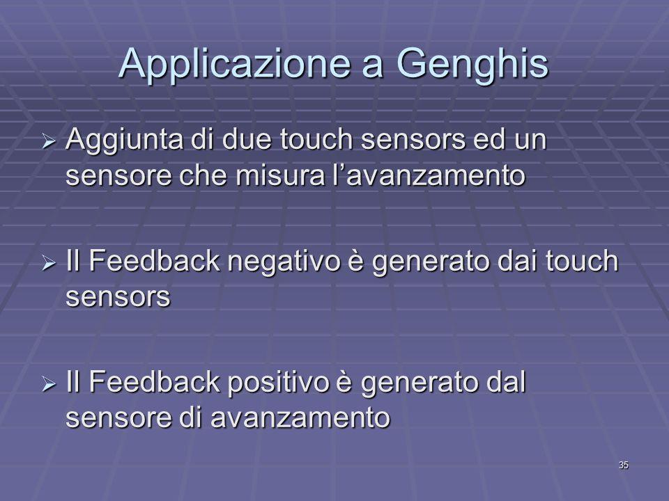 35 Applicazione a Genghis  Aggiunta di due touch sensors ed un sensore che misura l'avanzamento  Il Feedback negativo è generato dai touch sensors  Il Feedback positivo è generato dal sensore di avanzamento