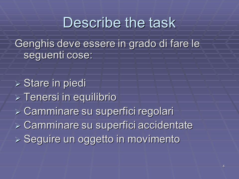 4 Describe the task Genghis deve essere in grado di fare le seguenti cose:  Stare in piedi  Tenersi in equilibrio  Camminare su superfici regolari  Camminare su superfici accidentate  Seguire un oggetto in movimento