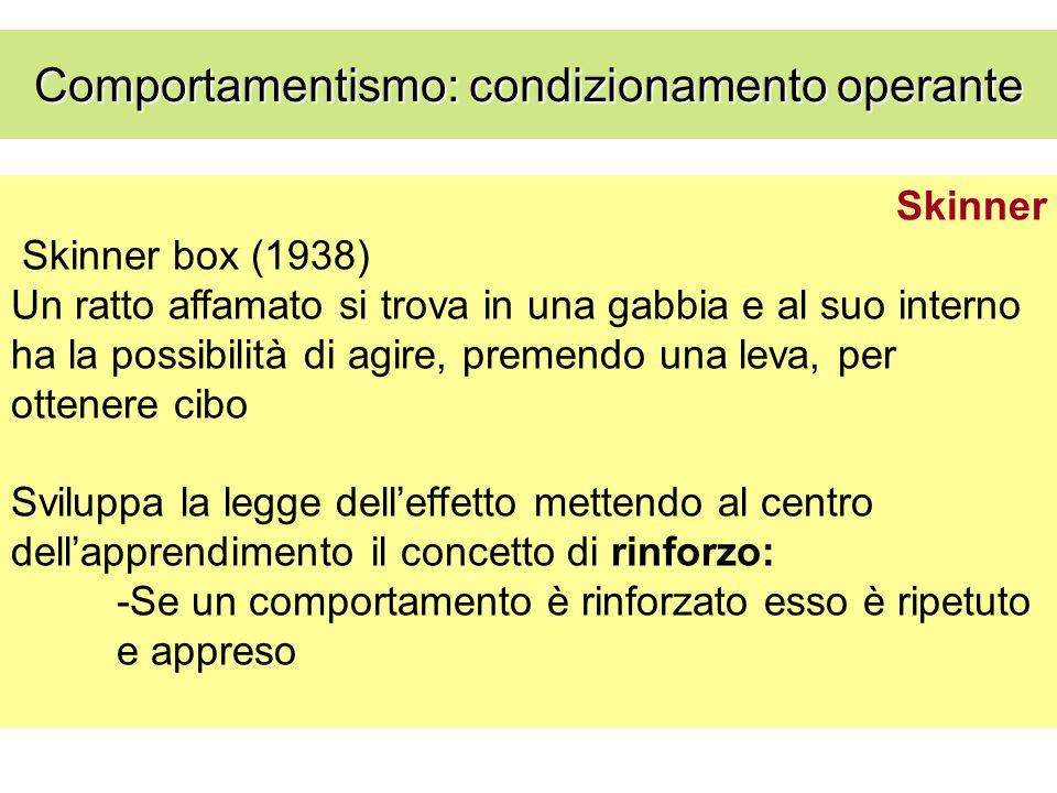 Skinner Skinner box (1938) Un ratto affamato si trova in una gabbia e al suo interno ha la possibilità di agire, premendo una leva, per ottenere cibo