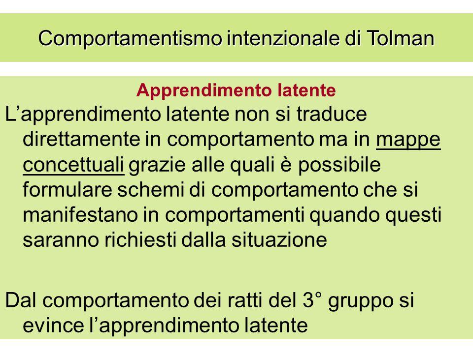Apprendimento latente L'apprendimento latente non si traduce direttamente in comportamento ma in mappe concettuali grazie alle quali è possibile formu
