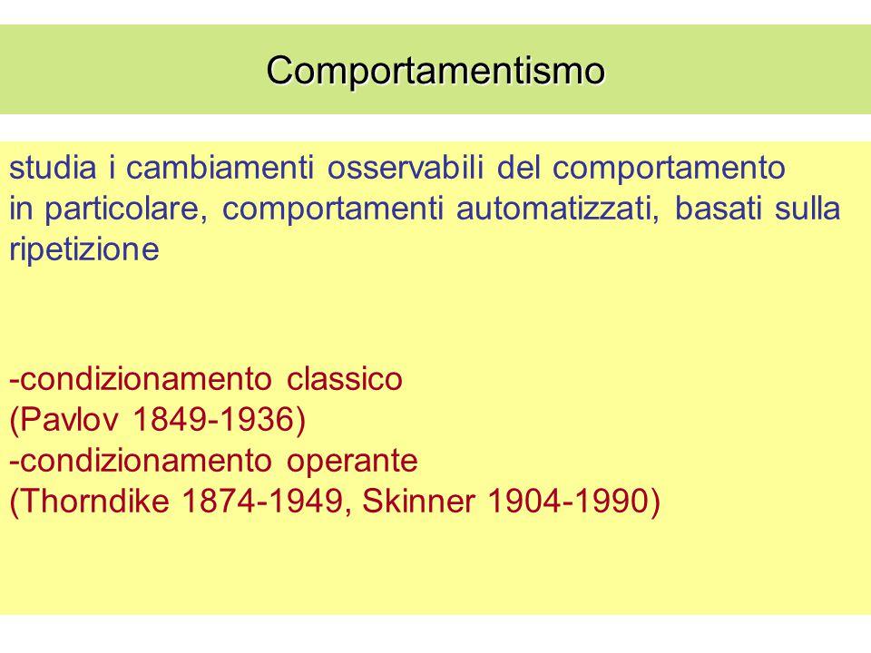 studia i cambiamenti osservabili del comportamento in particolare, comportamenti automatizzati, basati sulla ripetizione -condizionamento classico (Pa