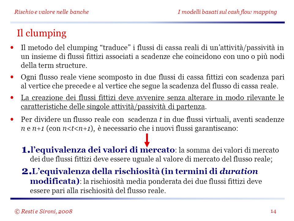 """Rischio e valore nelle bancheI modelli basati sul cash flow mapping 14 Il metodo del clumping """"traduce"""" i flussi di cassa reali di un'attività/passivi"""