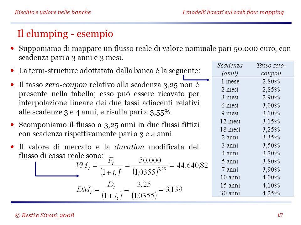 Rischio e valore nelle bancheI modelli basati sul cash flow mapping 17 Supponiamo di mappare un flusso reale di valore nominale pari 50.000 euro, con